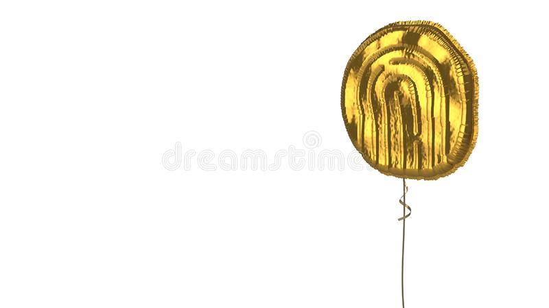 Gold balloon symbol of fingerprint09 on white background. 3d rendering of gold balloon shaped as symbol of inverse fingerprint isolated on white background with royalty free illustration