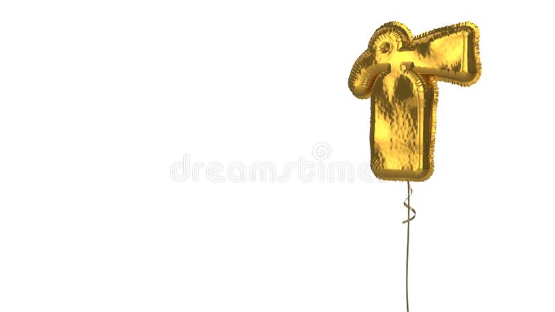 Gold balloon symbol of fire extinguisher on white background. 3d rendering of gold balloon shaped as symbol of fire extinguisher bottle isolated on white vector illustration