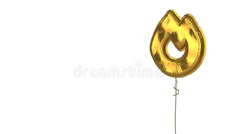 Gold balloon symbol of fire  on white background. 3d rendering of gold balloon shaped as symbol of flame isolated on white background with ribbon stock illustration