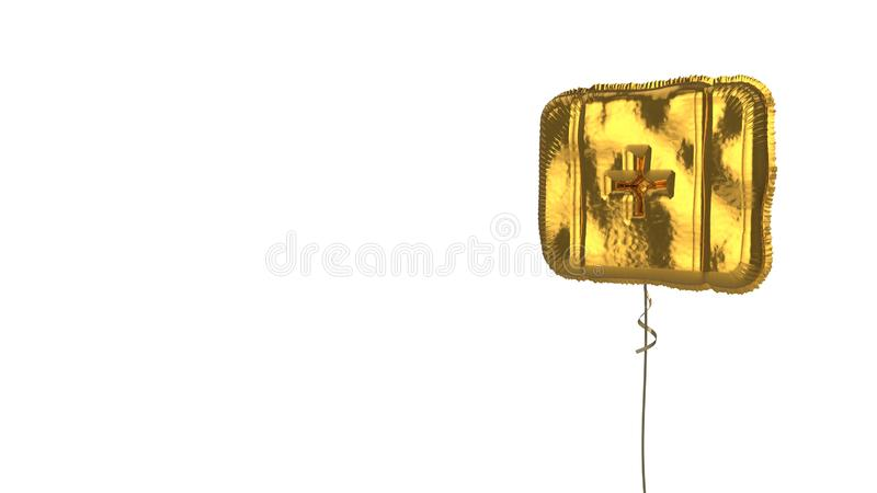 Gold balloon symbol of first aid on white background. 3d rendering of gold balloon shaped as symbol of first aid box with cross isolated on white background with royalty free illustration