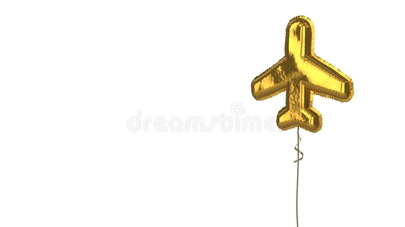 Gold balloon symbol of flight on white background. 3d rendering of gold balloon shaped as symbol of plane from top view isolated on white background with ribbon royalty free illustration