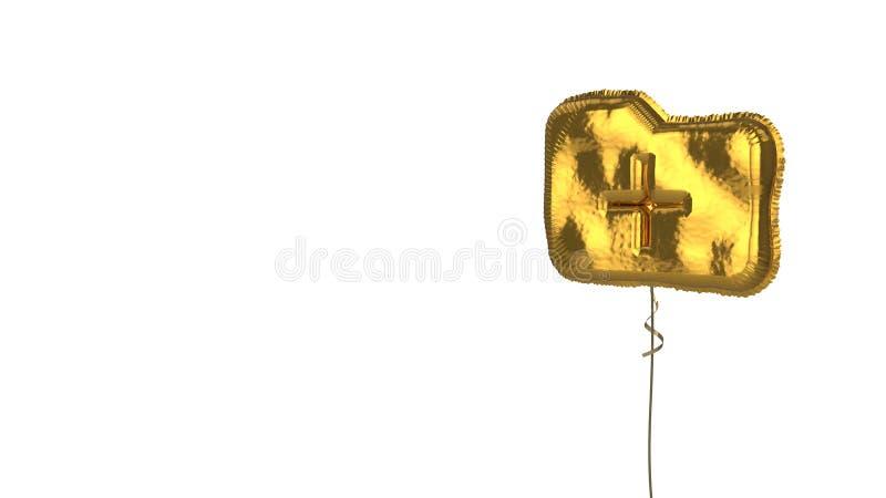 Gold balloon symbol of folder plus on white background. 3d rendering of gold balloon shaped as symbol of office folder with plus symbol isolated on white stock illustration