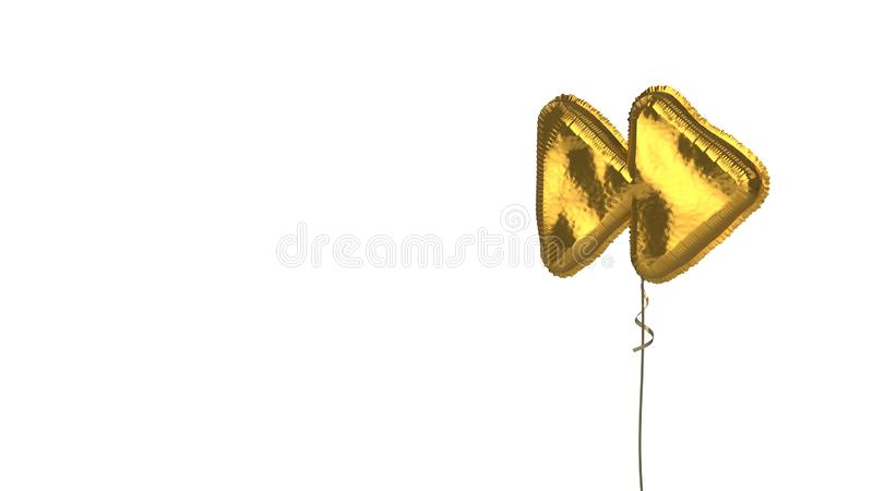 Gold balloon symbol of forward on white background. 3d rendering of gold balloon shaped as symbol of two right double arrows isolated on white background with stock illustration