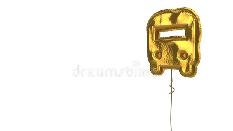 Gold balloon symbol of front bus on white background. 3d rendering of gold balloon shaped as symbol of bus from front view isolated on white background with stock illustration