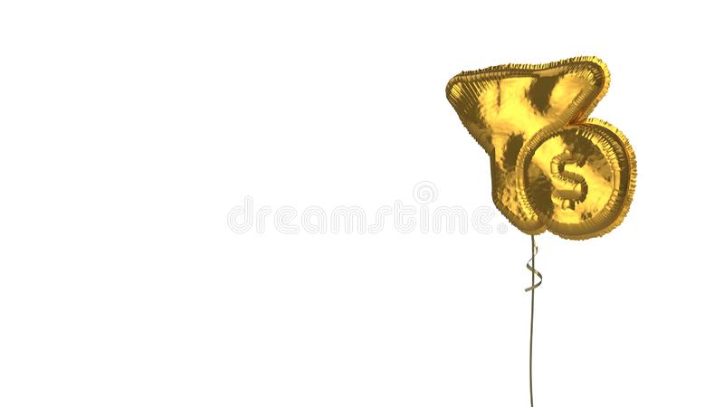 Gold balloon symbol of funnel dollar on white background. 3d rendering of gold balloon shaped as symbol of funnel and dollar coin isolated on white background royalty free illustration