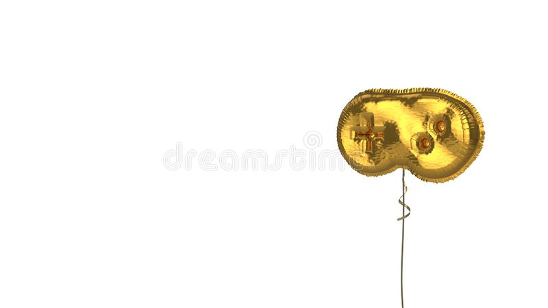 Gold balloon symbol of gamepad on white background. 3d rendering of gold balloon shaped as symbol of videogame controller isolated on white background with stock illustration