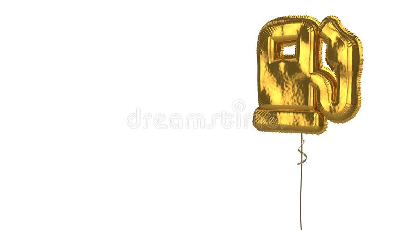 Gold balloon symbol of gas pump on white background. 3d rendering of gold balloon shaped as symbol of gas pump station with pedestal isolated on white background vector illustration