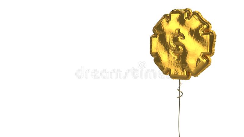 Gold balloon symbol of gear on white background. 3d rendering of gold balloon shaped as symbol of gear with dollar symbol isolated on white background with stock illustration