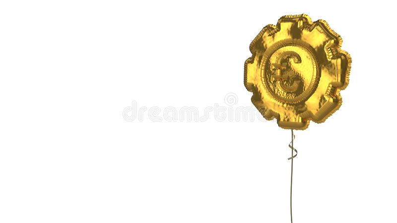 Gold balloon symbol of gear  on white background. 3d rendering of gold balloon shaped as symbol of gear with euro symbol isolated on white background with ribbon stock illustration