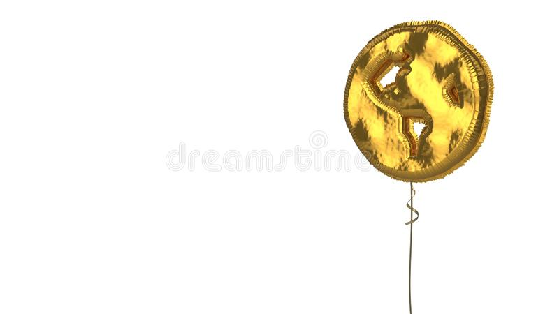 Gold balloon symbol of globe Americas on white background. 3d rendering of gold balloon shaped as symbol of globe Americas continents isolated on white vector illustration
