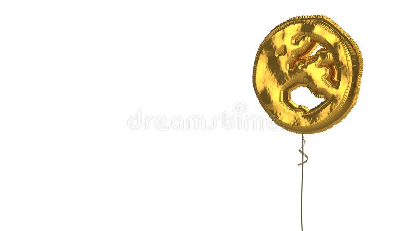 Gold balloon symbol of globe Europe on white background. 3d rendering of gold balloon shaped as symbol of globe Europe continent isolated on white background stock illustration