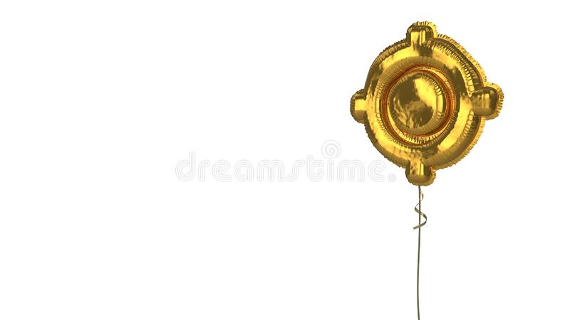Gold balloon symbol of gps fixed indicator on white background. 3d rendering of gold balloon shaped as symbol of gps fixed indicator isolated on white background stock illustration