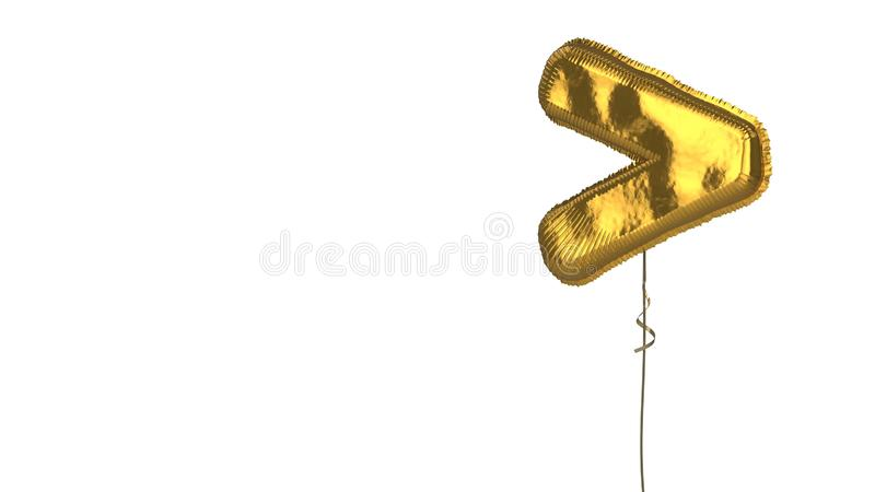 Gold balloon symbol of greater than on white background. 3d rendering of gold balloon shaped as symbol of greater than symbol isolated on white background with stock illustration