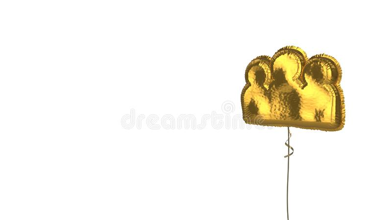 Gold balloon symbol of group on white background. 3d rendering of gold balloon shaped as symbol of group of three people isolated on white background with ribbon stock illustration