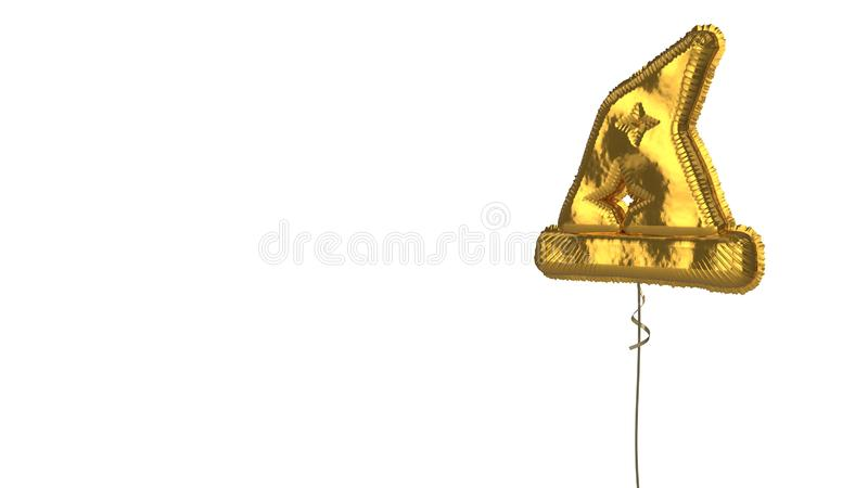 Gold balloon symbol of hat wizard on white background. 3d rendering of gold balloon shaped as symbol of wizard´s hat with stars isolated on white vector illustration