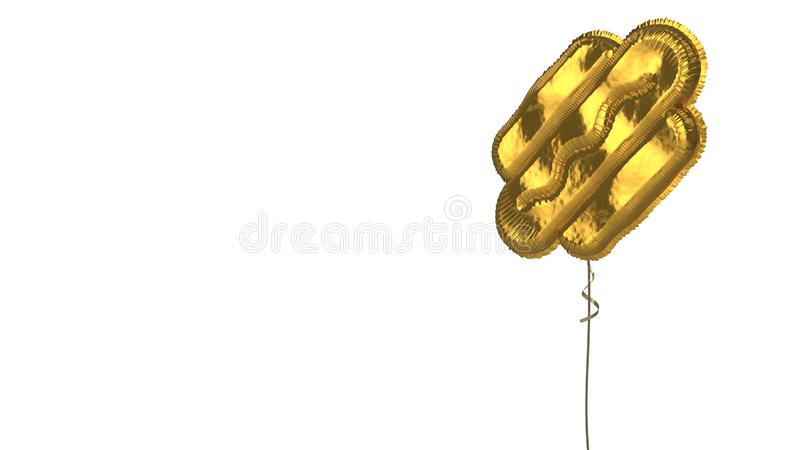 Gold balloon symbol of hotdog on white background. 3d rendering of gold balloon shaped as symbol of sausage in roll with mustard isolated on white background royalty free illustration