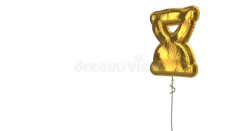 Gold balloon symbol of hourglass end on white background. 3d rendering of gold balloon shaped as symbol of hourglass in end phase isolated on white background royalty free illustration