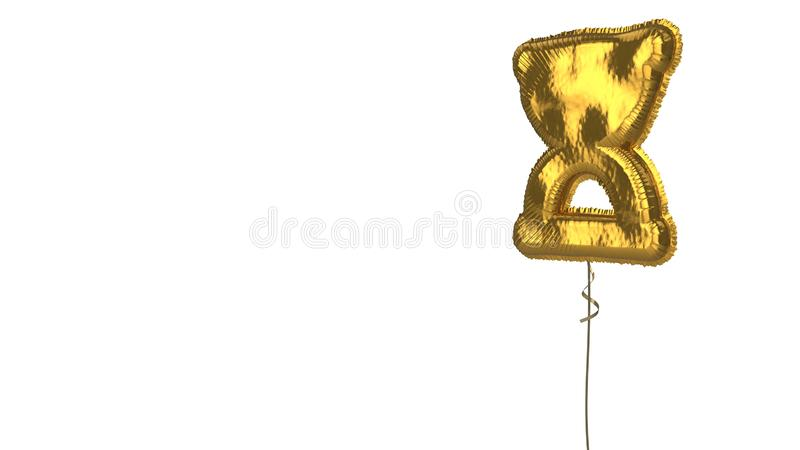 Gold balloon symbol of hourglass start on white background. 3d rendering of gold balloon shaped as symbol of hourglass in start phase isolated on white royalty free illustration