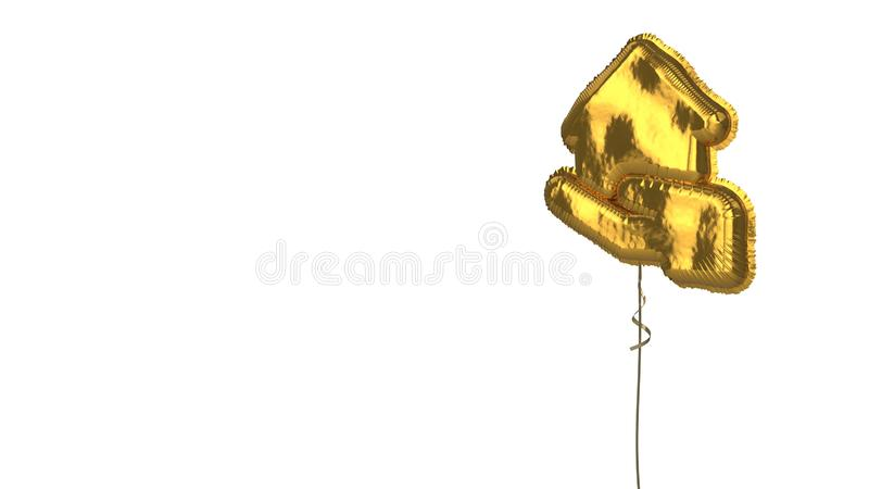 Gold balloon symbol of house  on white background. 3d rendering of gold balloon shaped as symbol of house in hand isolated on white background with ribbon stock illustration