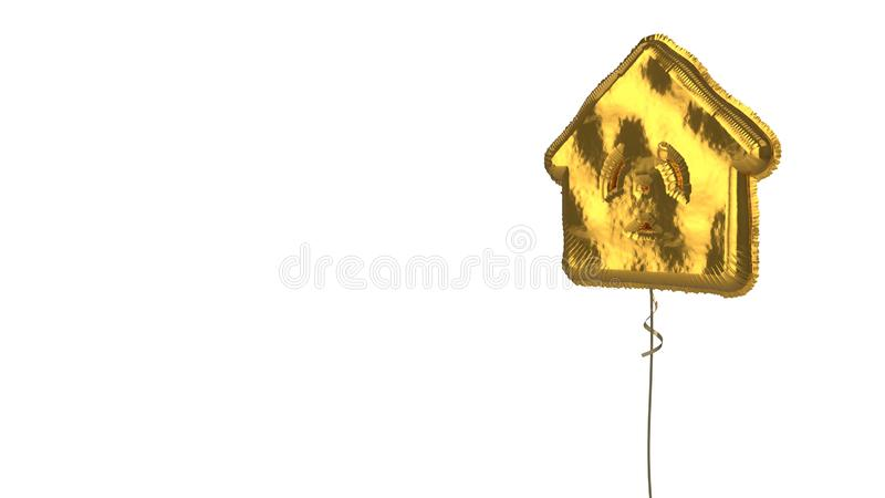 Gold balloon symbol of house  on white background. 3d rendering of gold balloon shaped as symbol of house with radiation symbol isolated on white background with vector illustration