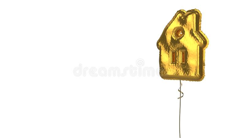 Gold balloon symbol of house  on white background. 3d rendering of gold balloon shaped as symbol of house with roof circular window isolated on white background royalty free illustration
