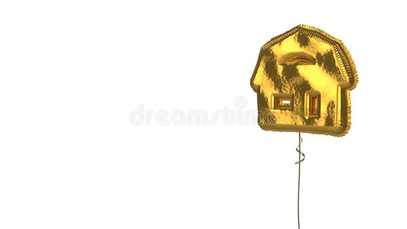 Gold balloon symbol of house  on white background. 3d rendering of gold balloon shaped as symbol of house with semicircle window isolated on white background royalty free illustration