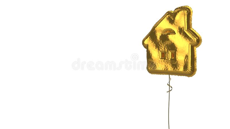 Gold balloon symbol of house  on white background. 3d rendering of gold balloon shaped as symbol of house with windows and chimney isolated on white background stock illustration