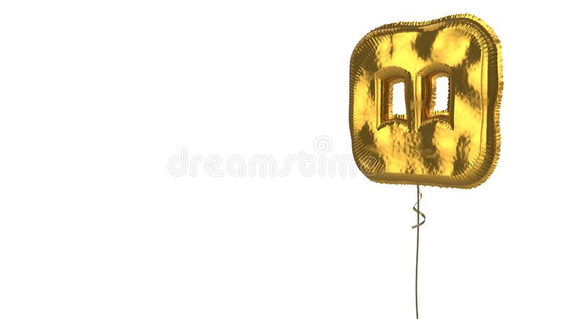 Gold balloon symbol of iBook on white background. 3d rendering of gold balloon shaped as symbol of book in rounded square isolated on white background with stock illustration