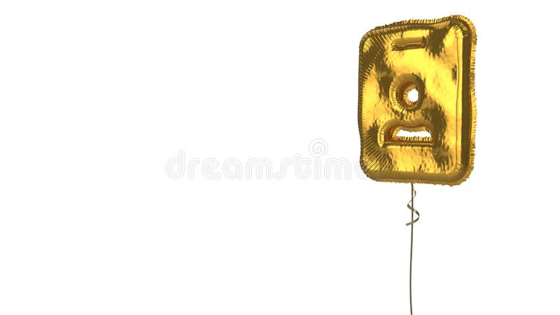 Gold balloon symbol of id badge on white background. 3d rendering of gold balloon shaped as symbol of id rectangular card with person figure isolated on white vector illustration
