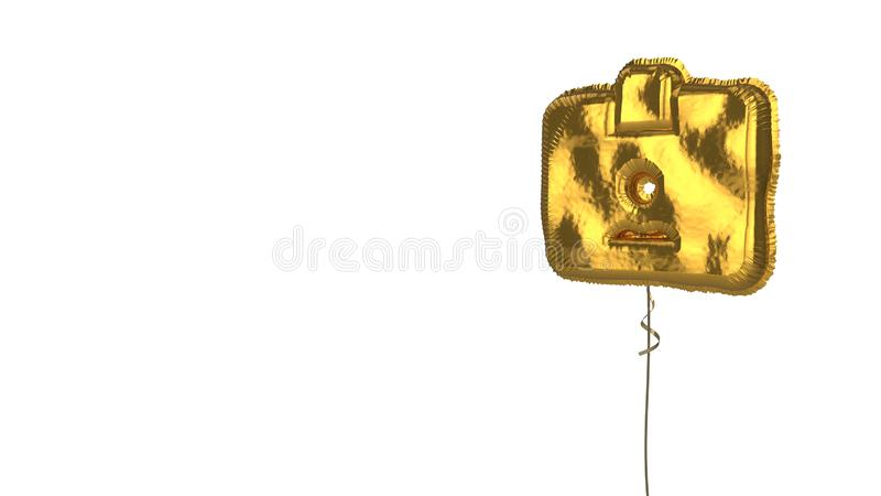 Gold balloon symbol of id card  on white background. 3d rendering of gold balloon shaped as symbol of id card with personal photo and holder isolated on white vector illustration