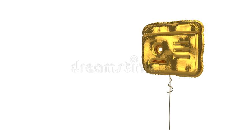 Gold balloon symbol of id card on white background. 3d rendering of gold balloon shaped as symbol of id card with personal photo isolated on white background stock illustration