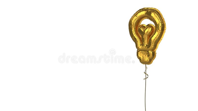 Gold balloon symbol of idea on white background. 3d rendering of gold balloon shaped as symbol of bulb isolated on white background with ribbon royalty free illustration