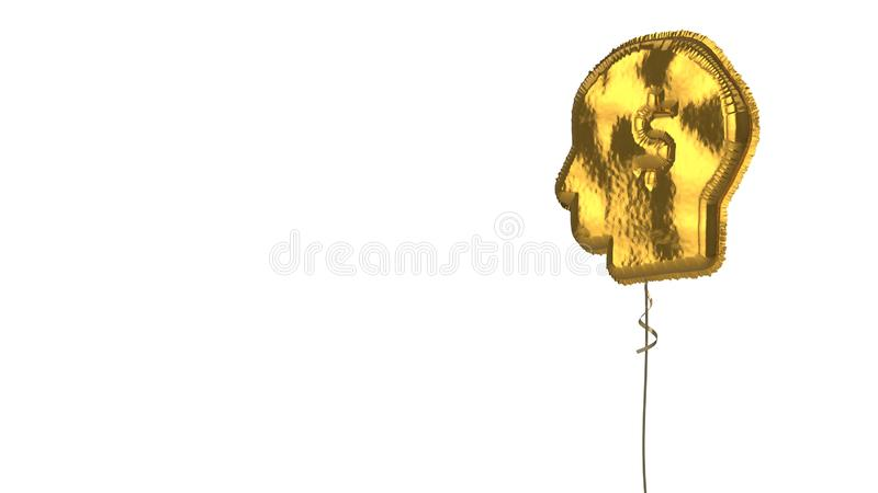 Gold balloon symbol of idea on white background. 3d rendering of gold balloon shaped as symbol of head silhouette with dollar symbol inside isolated on white vector illustration