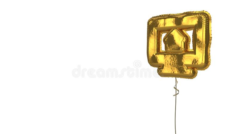 Gold balloon symbol of iMac on white background. 3d rendering of gold balloon shaped as symbol of monitor with house on screen isolated on white background with stock illustration