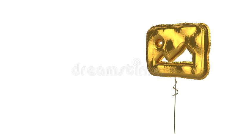 Gold balloon symbol of image on white background. 3d rendering of gold balloon shaped as symbol of picture with mountains and sun isolated on white background vector illustration
