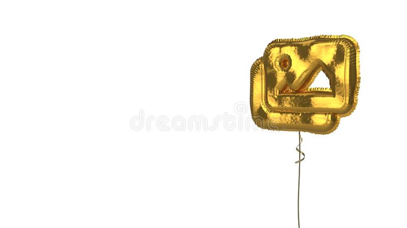 Gold balloon symbol of images on white background. 3d rendering of gold balloon shaped as symbol of two pictures with landscape isolated on white background with vector illustration