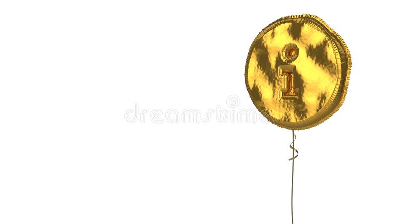 Gold balloon symbol of info circle on white background. 3d rendering of gold balloon shaped as symbol of information sign in circle isolated on white background stock illustration