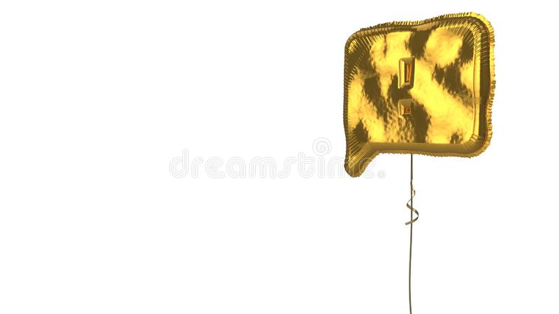 Gold balloon symbol of interface on white background. 3d rendering of gold balloon shaped as symbol of comment bubble with exclamation mark inside isolated on stock illustration