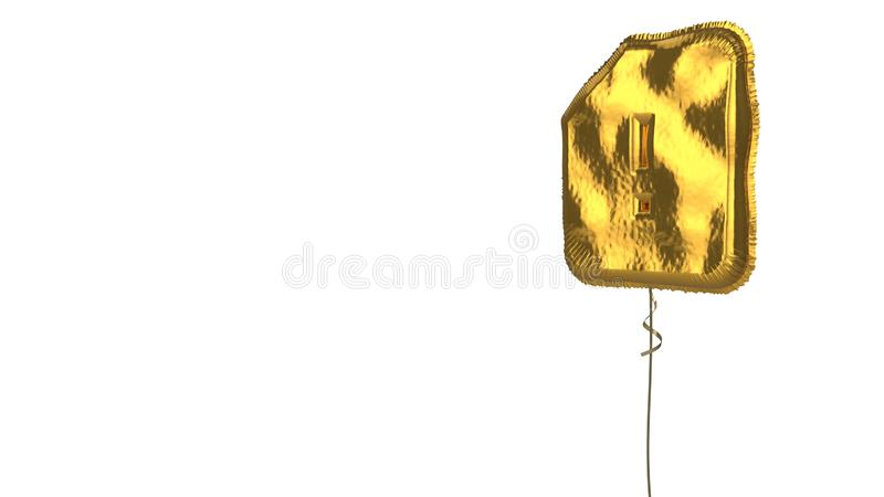 Gold balloon symbol of interface  on white background. 3d rendering of gold balloon shaped as symbol of memory card with exclamation mark isolated on white vector illustration