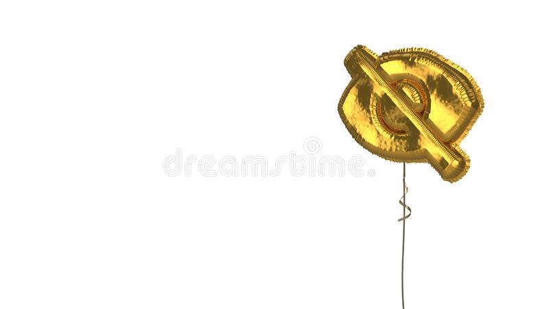 Gold balloon symbol of interface on white background. 3d rendering of gold balloon shaped as symbol of open eye with slash isolated on white background with vector illustration