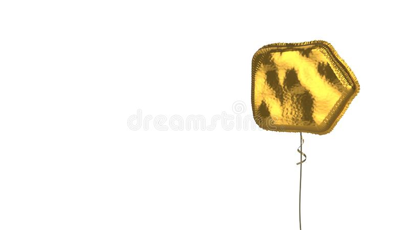 Gold balloon symbol of interface on white background. 3d rendering of gold balloon shaped as symbol of right arrow label isolated on white background with ribbon vector illustration