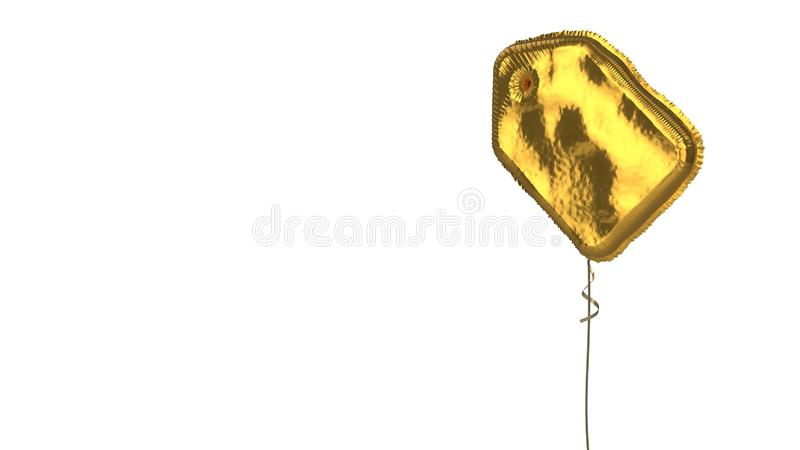 Gold balloon symbol of label on white background. 3d rendering of gold balloon shaped as symbol of label with holding hole isolated on white background with stock illustration