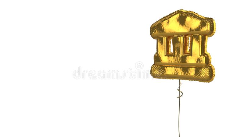Gold balloon symbol of landmark on white background. 3d rendering of gold balloon shaped as symbol of ancient Greek temple isolated on white background with stock illustration