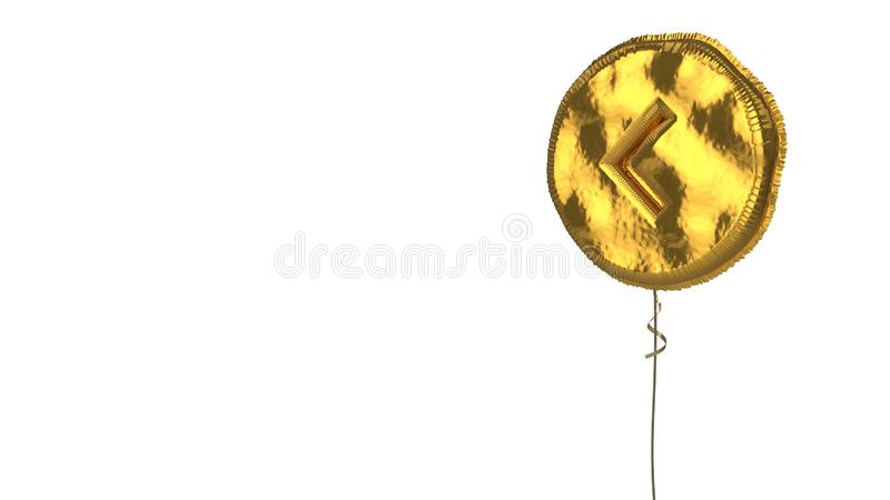 Gold balloon symbol of left arrow on white background. 3d rendering of gold balloon shaped as symbol of left chevron in circle isolated on white background with royalty free illustration