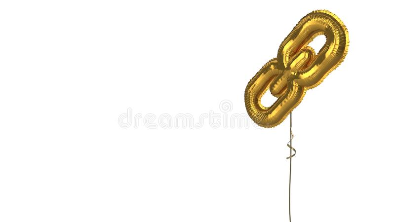 Gold balloon symbol of link on white background. 3d rendering of gold balloon shaped as symbol of three thin chain links isolated on white background with ribbon stock illustration