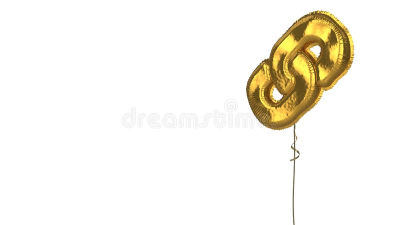Gold balloon symbol of link on white background. 3d rendering of gold balloon shaped as symbol of two thick chain links isolated on white background with ribbon royalty free illustration