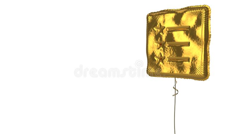 Gold balloon symbol of list on white background. 3d rendering of gold balloon shaped as symbol of list with stars and text lines isolated on white background royalty free illustration