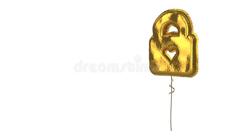 Gold balloon symbol of lock on white background. 3d rendering of gold balloon shaped as symbol of lock with heart inside isolated on white background with ribbon vector illustration