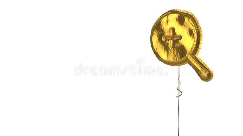 Gold balloon symbol of magnifier zoom in on white background. 3d rendering of gold balloon shaped as symbol of magnifier zoom in with thin handle isolated on stock illustration