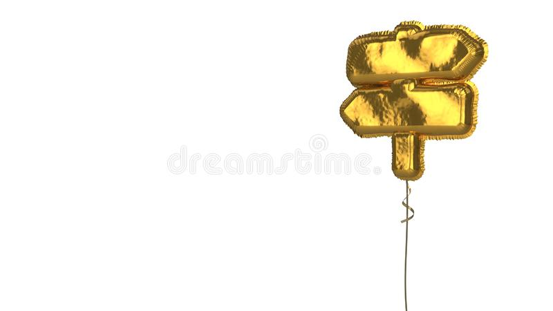 Gold balloon symbol of map signs on white background. 3d rendering of gold balloon shaped as symbol of two map signs on stick isolated on white background with stock illustration